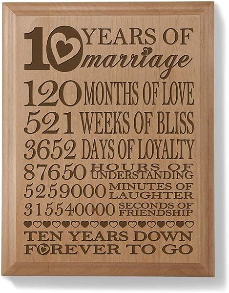 Kate Posh 我们的 10 周年纪念雕刻天然木质牌匾结婚 10 年 120 个月结婚 10 年夫妻