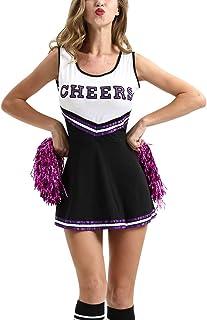 Amatop Uniforme Musicale per Donna Fancy Dress Completo Completo High School Cheerleader Costume Dallas Cowboys Cheerleader Costume Halloween Cosplay Costume
