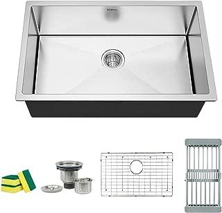TORVA 30-Inch Undermount Kitchen Sink, 16 Gauge Stainless Steel Undermount Single Bowl 30 x 18 x 10 inch Deep, Fits 33 inch Cabinet