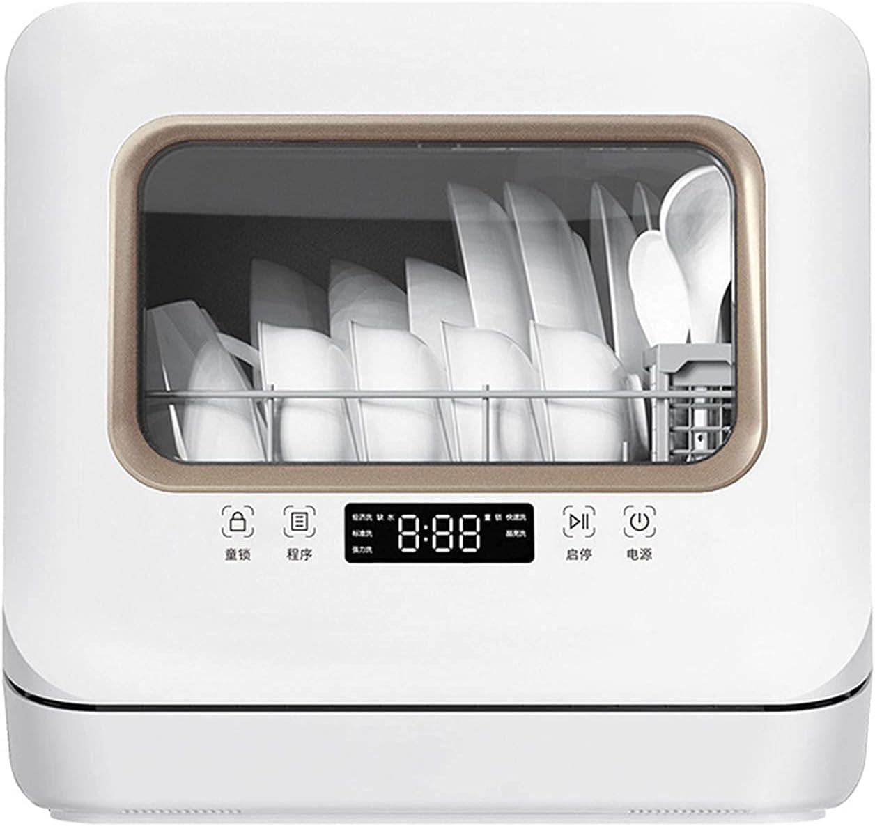 MOSHUO Mini lavavajillas, lavaplatos Compacto de Mesa con 5 configuraciones de Limpieza, Pantalla LED, Silencio, Modo Dual, Almacenamiento de Entrada de Agua, vajilla, Armario para cocinas caseras