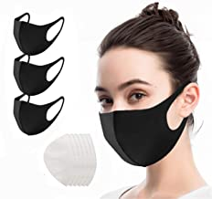 [3PCS] Fashion Mouth Cover, Washable Ice-Silk, Reusable Protective Mouth Cover for Unisex Adult - Black