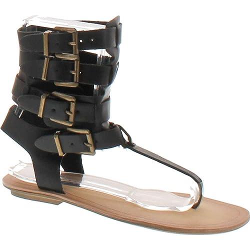 aba15a5c4cb4 Liliana Avis-3 Women Leatherette Strappy T-Strap Gladiator Thong Sandal -  Black