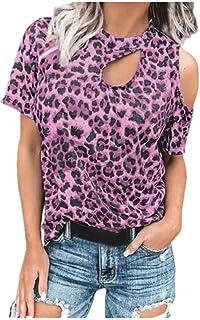 N\P Damen-T-Shirt mit lockerer Schulter, Leopardenmuster, kurzärmelig