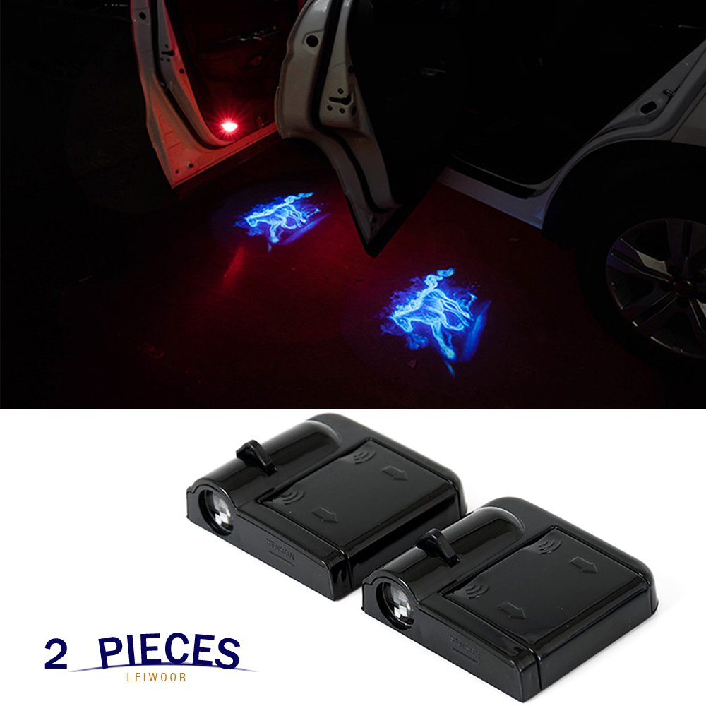 Wireless Car Door Light Projector,Magnetic Sensor Welcome Logo Light Shadow Ghost Laser Emblem Lamp Auto Courtesy Step Lamp for Ford
