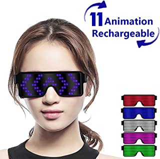 Fancy LED Light up Glasses, USB Rechargeable&Wireless with Flashing LED Display, can Work 6 Hours, Have 8 Dynamic Patterns, Glowing Luminous Glasses for Christmas,Party,Bars,Rave,Festival,etc.(Blue)