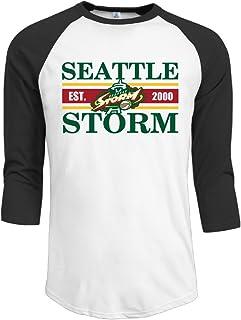 ElishaJ Men's Raglan Tee Baseball Shirt Seattle Basketball Storm Black
