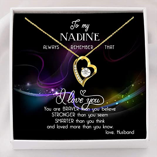 Heart Necklace with Message - to My Nadine