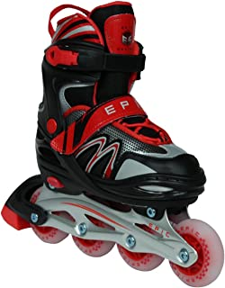 Epic Skates Drift Adjustable Inline Roller Skates W/LED Light Up Wheels,  Black/Red,  Adult 5-8