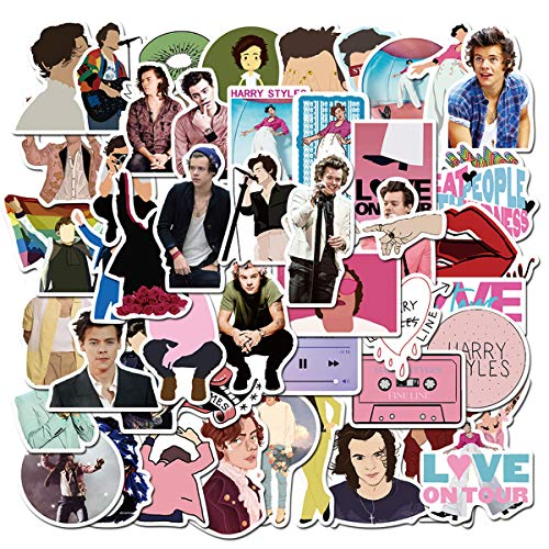 Singer Harry Styles Stickers 50PCS for Laptop and Water Bottles,Waterproof Durable Trendy Vinyl Laptop Decal Stickers Pack for Teens, Water Bottles, Computer, Travel Case(Harry)