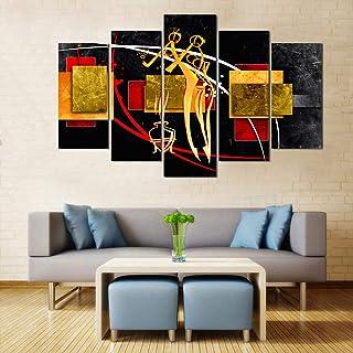WENS Velvet Laminated Figurative Art 5 Panels Framed Wall Art (24x40 Inch)