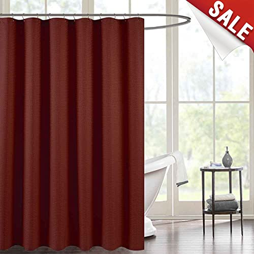 Waffle Weave Fabric Shower Curtain For Bathroom Burgundy 72 Inch Long Water Repellent In