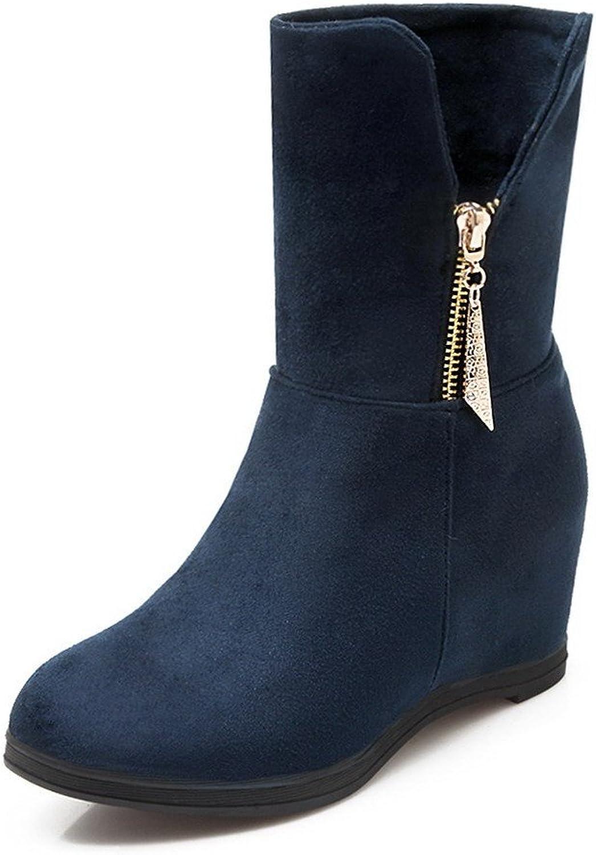 AllhqFashion Women's Zipper Imitated Suede Round Closed Toe Kitten Heels Solid Boots