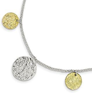 925 Sterling Silver Vermeil Textured Bracelet 7.5 Inch Fancy Charm Fine Jewelry For Women
