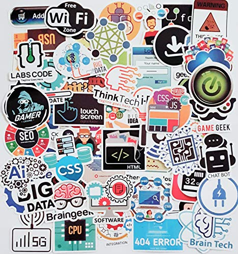 [100 Pack] Laptop Stickers for Developer Programming Language include Sticker IT logo, C++, Python, Linux, Swift, for Geeks, Java, Engineers, Hackers, Geeks, Coders, Car Vinyl Decals