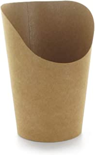 Disposable French Fries or Wrap Cup (Case of 1200), PacknWood - Brown Kraft Paper Food Containers French Fry Holder (5.5 oz) 210GSP49BR