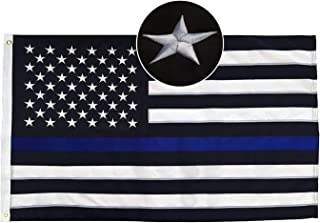 Thin Blue Line USA Flag 5x8 Ft with Embroidered Stars, Sewn Stripes, Brass Grommets, Vivid Color and UV Fade Resistant, Black White and Blue American Police Flag Honoring Law Enforcement Officers