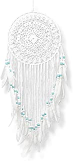 Famgift- Dream Catchers for Bedroom Decor Wall Hanging Handmade Crochet Dreams Catcher Wall Decor Feather Beaded White Dream Catcher Birthday
