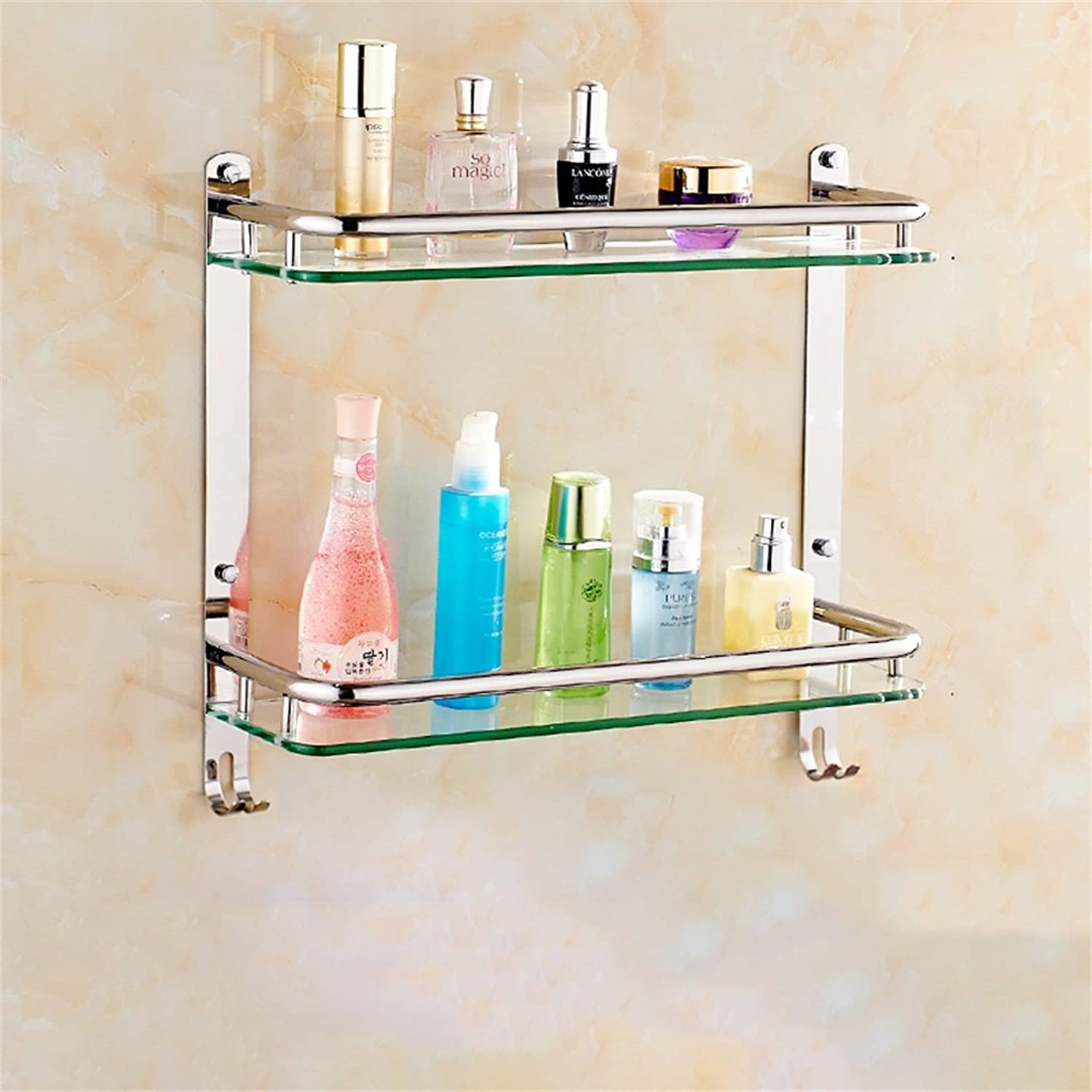 Cpp Shelf Bathroom Shelf Stainless Steel Bathroom Shelf Glass Bathroom Wall mountings Safety Rounded Corners (Size   41  38CM)