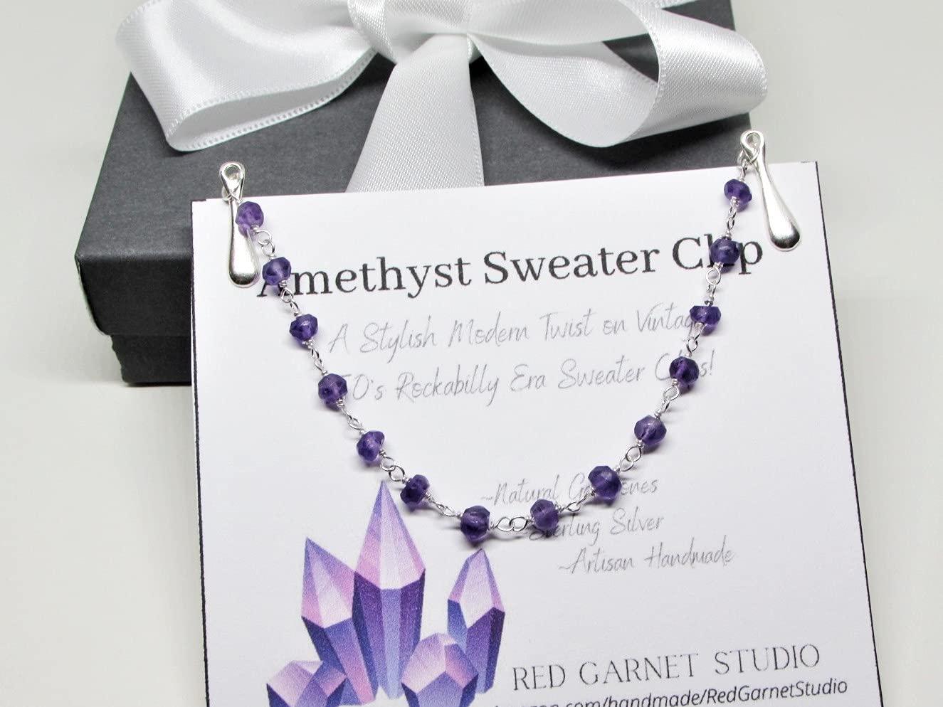 Modern Purple Amethyst Sweater Clip Chain- 2021new shipping free Luxury Sterling Silver- Clas