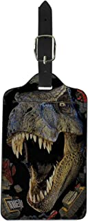INSTANTARTS PU Leather Luggage Tags Funny Suitcase Labels Bag Travel Accessories (Dinosaur)