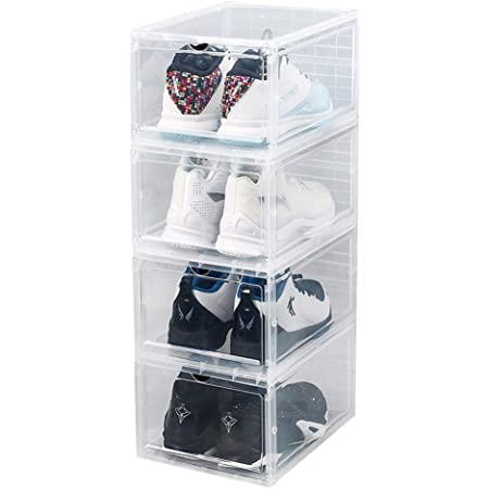 S-JIANG Shoe Boxes Clear Plastic Stackable Black, 4 PACK Drop Front Shoe Display Box Large Storage Containers Shoe Box Organizer for Sneaker Men Women