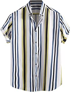 Mens Short Sleeve Shirts Hipster Striped Turn Down Collar Short Sleeve Loose Casual Tee Tops