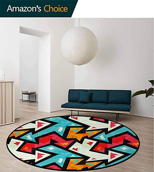 Abstract Non Slip Area Rug Pad Round Graphic Arrow Pattern With Grunge Effect Funky Psychedelic Colorful Zigzag Artwork Protect Floors While Securing Rug Making Vacuuming Diameter 47 Inch Multicolor