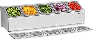 Royal Catering Support Bac GN Présentoir À Ingrédients Couvercles RCPN 5 (Acier inoxydable, Composants allant au lave-vais...
