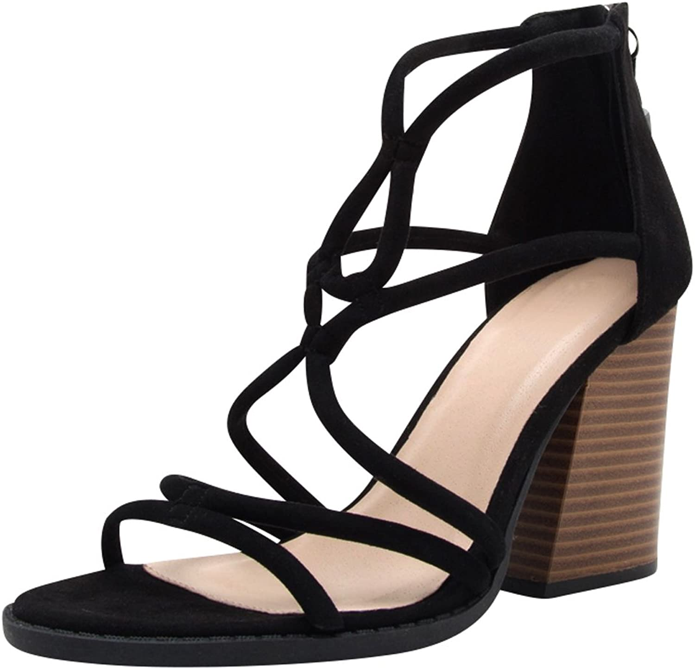Cambridge Select Women's Open Toe Strappy Cutout Back Zip Tassel Chunky Stacked Block Heel Sandal