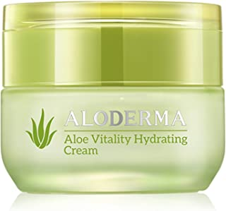 ALODERMA Organic Aloe Vera Vitality Hydrating Cream, Made with 70% Pure Organic Aloe Vera Juice, Deep Hydration and Skin Loving Botanical Nutrients, All Day Hydration to Lock in Moisture 1.7 oz (50g)