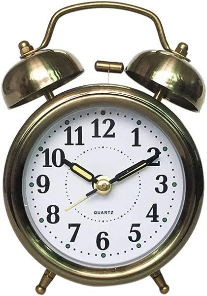 Homyl Vintage Retro Decorative Non Ticking Bedside Table Desk Alarm Clock Bronze Color