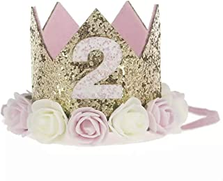 Baby Head Band Delicate Crown Birthday Girls Baby Hairbands Glitter Golden Crown with White and Pink Flowers Hoop Hair Bab...