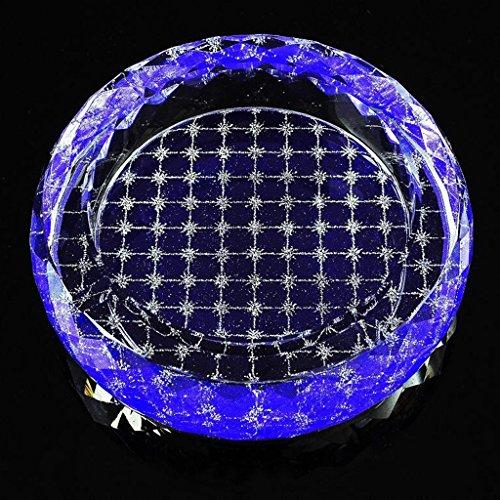 cendrier Xuan - worth having Blue Lattice Pattern Round Bright Style verre de cristal Décoration élégante personnalisée de salon (taille : 15*15*4cm)