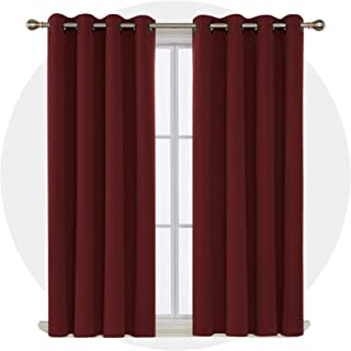 Deconovo Room Darkening Shades Thermal Blackout Curtains Grommet Top Shade Curtains for Office 52W x 63L Inch Maroon Red Set of 2