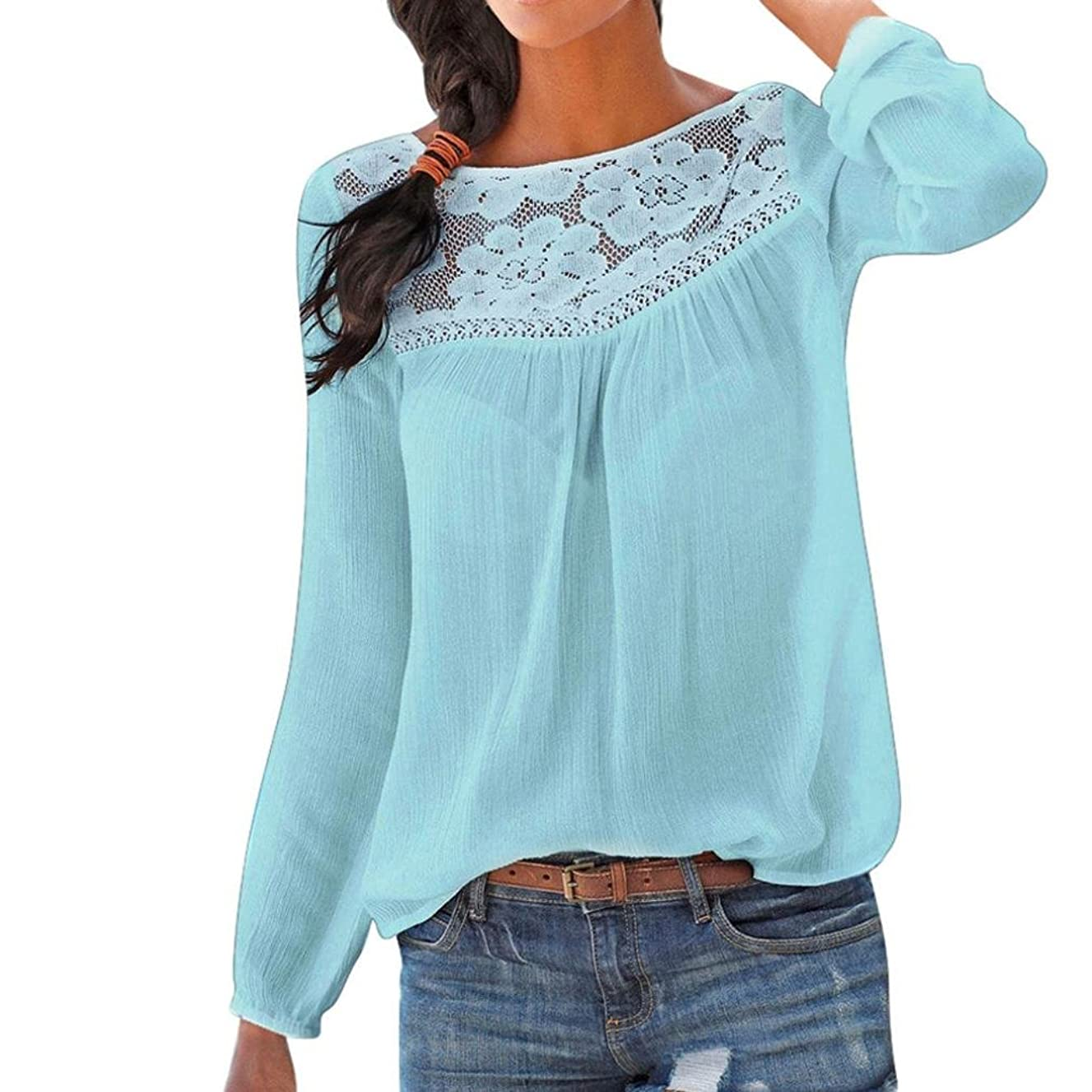 Long Sleeve Women Casual Lace Patchwork Tops Blouse