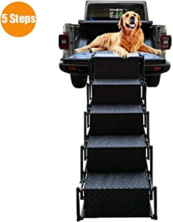 Upgraded Pet Dog Car Step Stairs, Accordion Metal Frame Folding Pet Ramp for Indoor Outdoor Use, Lightweight Portable Auto Large Dog and Cat Ladder for Cars, Trucks and SUVs Cargo, Couch and High Bed
