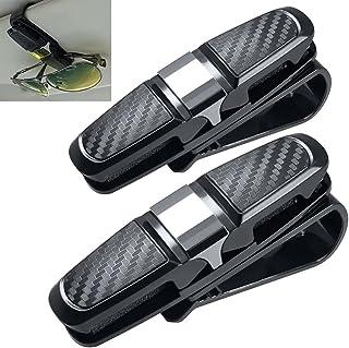 Conruich 2 stuks brilhouders voor auto zonnebrilhouder voertuigbrilclips dubbele brilhouder met kaartkaartclip multifuncti...