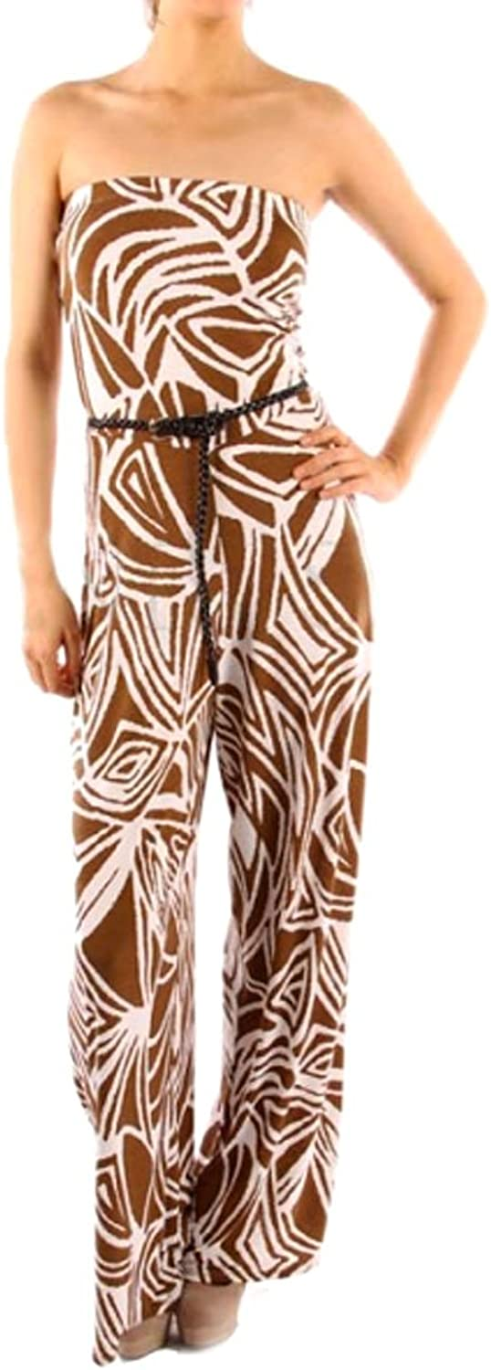 Brown and White Geometric Print Strapless Jumpsuit and Thin Braided Belt