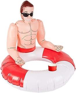 Smiffys 50885 - Anillo de natación Inflable para Salvavidas, Unisex, Color Rojo y Blanco, Talla única