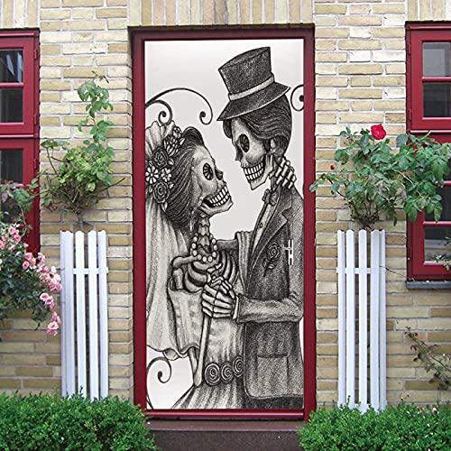 LuSeven vinilo baño Hombre esqueleto novio novia 95x215cm(37.4 inches * 84.64 inches) pegatinas autoadhesivas de PVC, efecto 3D para decoración de puertas, arte de fotos, papel pintado