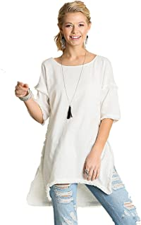 Umgee Textured Knit Tunic with Fringe Accents