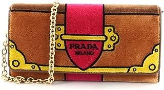 Portafoglio Pattina Cammello Brown and Pink Velvet Ricamo Wristlet 1MH019