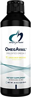 Designs for Health OmegAvail Smoothie - Omega 3 TG Triglyceride Fish Oil Emulsion with DHA + EPA - Liquid Supplement for C...