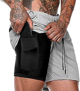 Pantalón Corto para Hombre,Pantalones Cortos Deportivos para Correr 2 en 1 para Hombres Secado rápido Transpirable con Forro de Bolsillo Incorporado