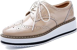 8476bb3dd59 YING LAN Women s Platform Lace-Up Wingtips Square Toe Oxfords Shoe