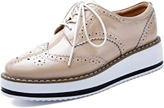 YING LAN Women's Platform Lace-Up Wingtips Square Toe Oxfords Shoe Orange Size: 9.5