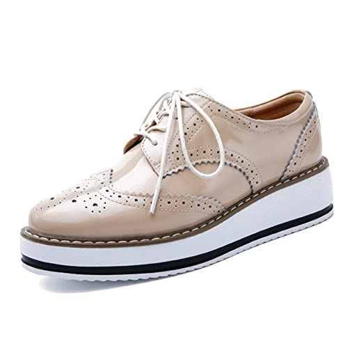 23923b9c7f YING LAN Women's Platform Lace-Up Wingtips Square Toe Oxfords Shoe