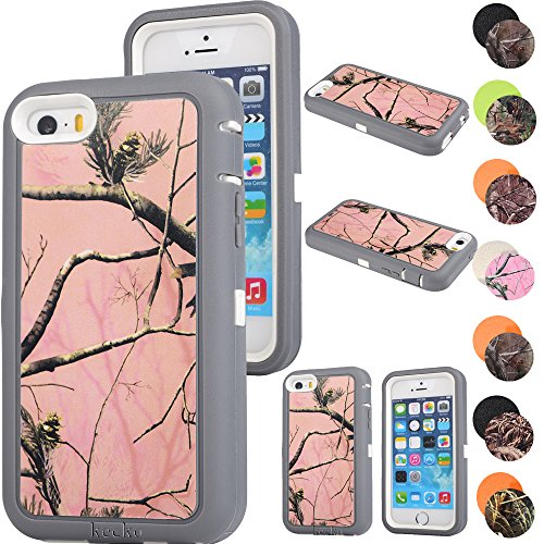 for iPhone 5C Case, Kecko Defender Tough Armor Heavy Duty Hard Dual Layer Weather Resistant Tree Camo Hybrid Case for iPhone 5C W/Built-in Screen Guard-Branches&Leaves On The Core - Pink Tree