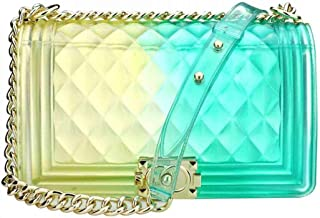 Women Transparent Jelly Messenger Bag Gradient Candy Color Clutch Purses Shoulder Handbags Crossbody Bag with Chain