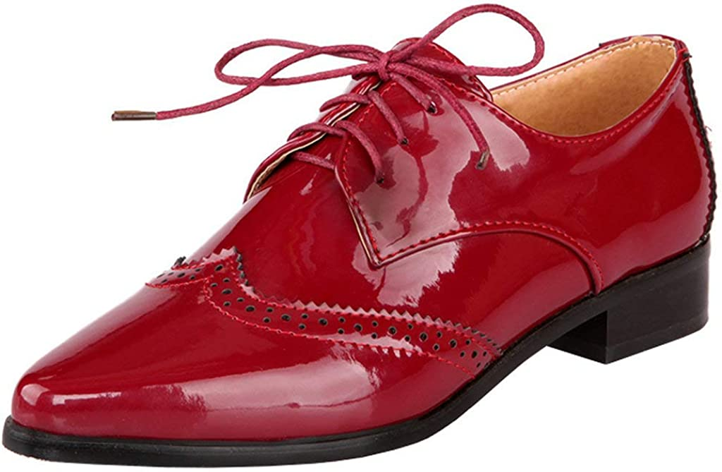 KOKOMOMO Womens outlet Wingtip Patent Leather Low OFFicial Pointed F Heel Oxford